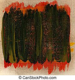 arranhado, grunge, pintado, textura, verde vermelho