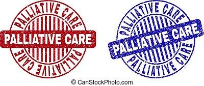 arranhado, grunge, selo, selos, cuidado, redondo, palliative