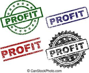 arranhado, lucro, textured, selo, selos