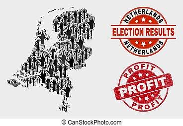 arranhado, mapa, países baixos, lucro, selo, eleição, selo, composição