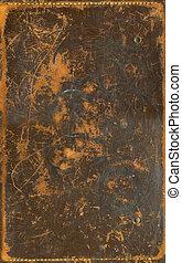 arranhado, marrom, couro, textura, bordas, stiched