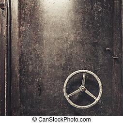 arranhado, metal, porta, fundo