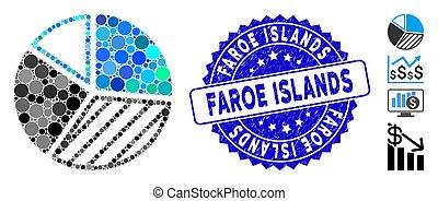 arranhado, mosaico, torta, ícone, mapa, selo, ilhas faroe