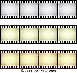 arranhado, película, vetorial, seamless, tiras
