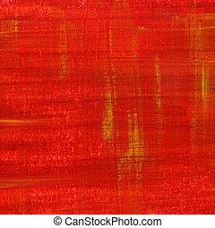 arranhado, pintado, grunge, vermelho, textura