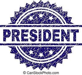 arranhado, presidente, textured, selo, selo