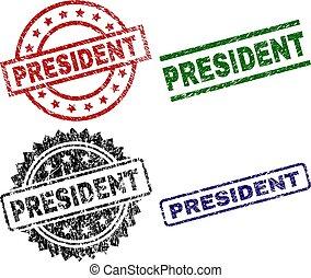 arranhado, presidente, textured, selo, selos