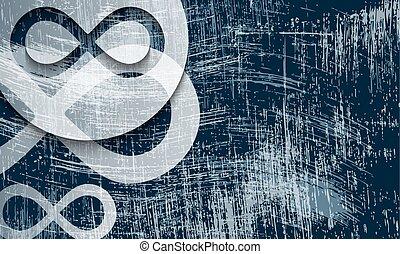 arranhado, símbolo, infinidade, transparente, fundo