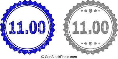 arranhado, selo, 11.00, selos, textured, fita