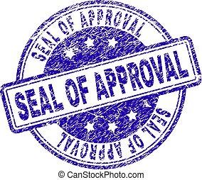 arranhado, selo, aprovação, selo, textured