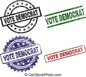 arranhado, selo, democrata, selos, textured, voto