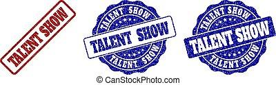 arranhado, selo, mostrar, talento, selos