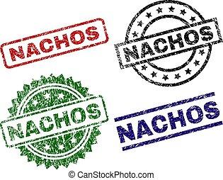 arranhado, selo, nachos, textured, selos