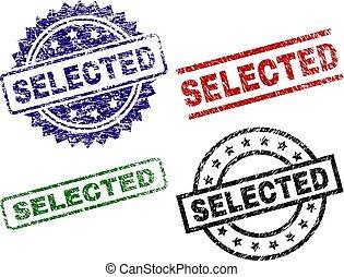 arranhado, selo, selecionado, textured, selos