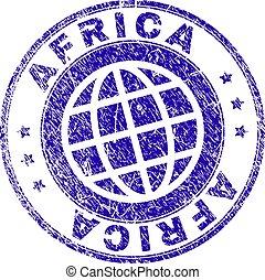 arranhado, selo, textured, áfrica, selo