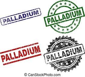 arranhado, selo, textured, palladium, selos