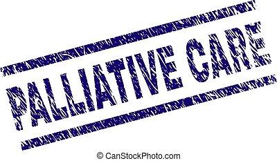 arranhado, selo, textured, selo, cuidado, palliative