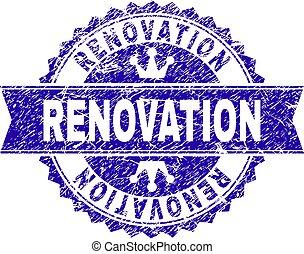 arranhado, selo, textured, selo, renovação, fita