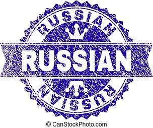 arranhado, selo, textured, selo, russo, fita