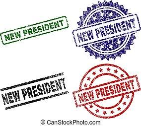 arranhado, selo, textured, selos, novo, presidente