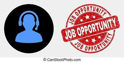 arranhado, selo, trabalho, vetorial, rádio, selo, operador, oportunidade, ícone