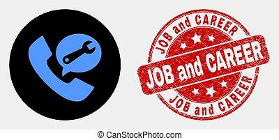 arranhado, serviço, carreira, telefone, trabalho, vetorial, chamada, ícone, selo