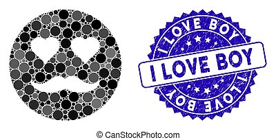 arranhado, smiley, ícone, menino, amante, amor, mosaico, selo