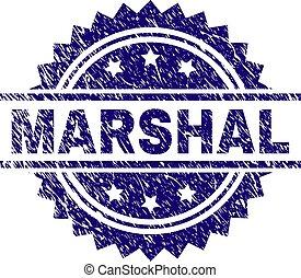 arranhado, textured, marshal, selo, selo
