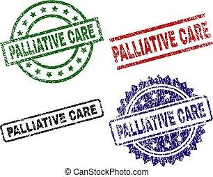 arranhado, textured, selos, selo, cuidado, palliative