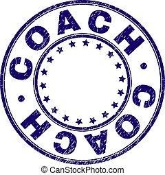 arranhado, treinador, selo, textured, selo, redondo