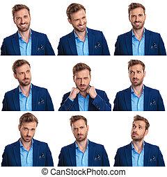 arranjo, de, 9, diferente, poses, de, um, jovem, homem negócios