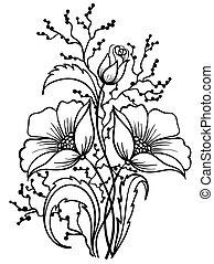 arranjo, de, flores, preto, white., esboço, desenho, de,...