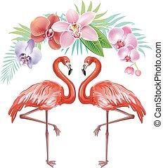 arranjo, de, flores tropicais, e, flamingos