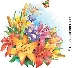 arranjo, de, flores