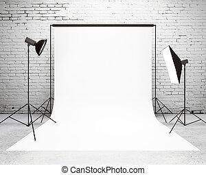 arranjo, luz, estúdio