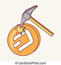 arranque, moneda, icono