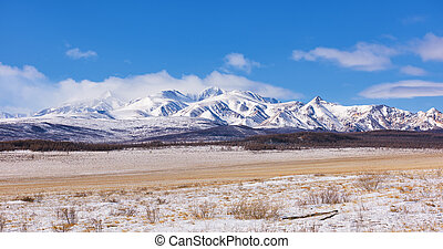 Array Munch-Sardyk highest mountain Sayan Mountains . March....