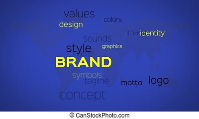 Array of Brand Words Blue Map - Floating array or word cloud...