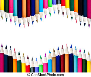 Array of Color Pencils Isolated on White Background