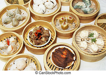 dim sum dishes - array of different chinese dim sum dishes
