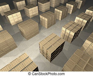 Array of wooden boxes - Cubic stacks of wooden boxes...