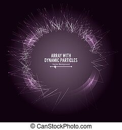 Array Vector With Splash Emitted Particles. Big Data Complex. Visualization Abstract Background  Swirled Stripes