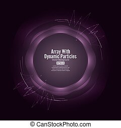 Array Vector With Splash Emitted Particles. Round Dots  And Lines. Visualization Abstract Background  Swirled Stripes
