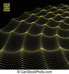 Array with Dynamic Particles. Flowing particle waves. Wavy Grid Background. 3d Abstract Vector Illustration.