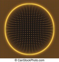 Array with Dynamic Particles. 3d Futuristic technology...