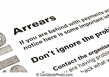 Arrears Warning and Advice Letter - Section of a letter...