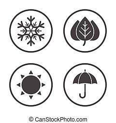 arredondado, ícones, simples, set., vetorial, tempo, estações, design., ícone
