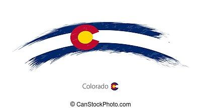 arredondado, bandeira colorado, stroke., grunge, escova