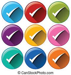 arredondado, botões, com, cheque, marcas