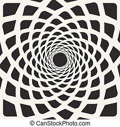 arredondado, linhas, espiral, forma, vetorial, pretas, branca, ilusão, óptico